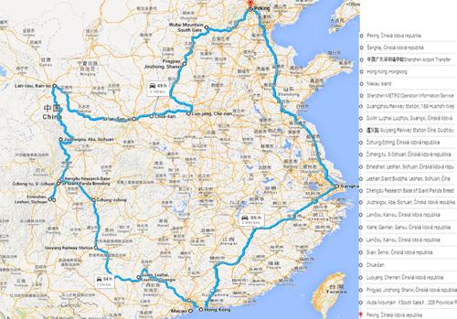 Plán cestovania po Číne