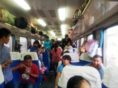 Typický obrázok cesty vlakom v Číne